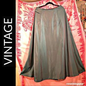 Vntg Green iridescent lined A line Satin Skirt